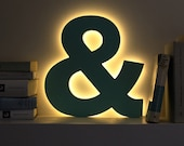 Ampersand LED letter light decorative nursery night light mint gold light up letters custom colors alphabet