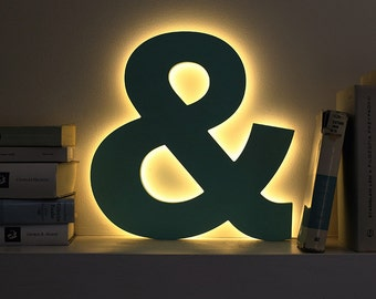Ampersand LED letter light decorative night lamp light up letters custom colors