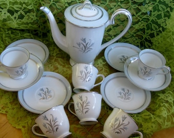 Noritake Bluebell Small Coffee or Teapot  Rare 1950s w/ 6 Demitasse sets Very Good