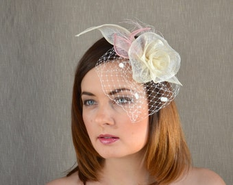 Ivory and Blush Pink Bridal Fascinator with Birdcage veil - Ivory Sinamay Rose Fascinator - French veil