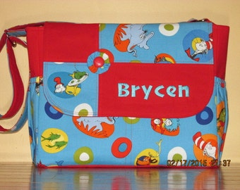 Made To Order Dr. Suess Diaper Bag and Matching Changing Pad You Pick Color  Free Name Embroidery