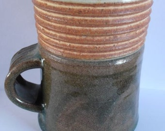 Handmade stoneware cup mug, tankard with low handle
