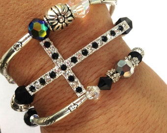 Limited Edition, Black Bangles, Black Cross Bracelet, Chunky Cross, Stackable Bracelets, Arm Candy