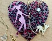 GIRL Walking Chihuahua Laser Cut pink mirrored acrylic gold chihuahua on pink cheetah heart