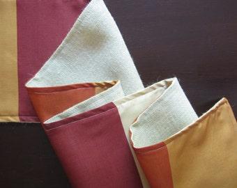 Fall Table Runner, Color Block Reversible Burlap Runner, Natural Table  Linens, Earthy Table