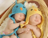 Crochet Baby Bird Hat - Baby Chick hat - Newborn Photo Prop - Bluebird Hat - Unisex Baby Shower Gift - Photo Prop - Newborn Photography
