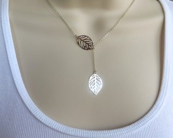 Two Leaves Lariat Necklace. Silver Infinity Lariat Necklace. Sterling Silver Circle Necklace.