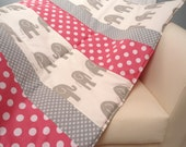 """Baby Play Mat Padded Floor Blanket Personalize Gray Elephants Modern Quilt Girls Tummy Time Newborn Gift Baby Shower Nap Mat 35"""" x 35"""""""