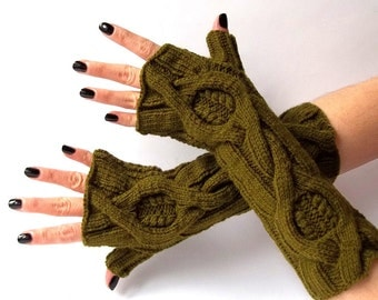 SALE - 50%OFF. Knit Fingerless Gloves. Olive Green Gloves. Knitted Wrist Warmers. Fingerless Mittens. Knit Mittens. Hand Knit Gloves.