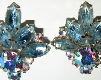 Runway Rhinestone Earrings Icy Blue Rhinestone Clips Stunning Showstoppers