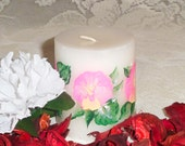 Peppermint scented hand painted pink pansy white pillar candle; shabby chic / cottage chic OOAK gift candle
