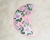 Crescent Moon Hand Painted Pink & Lavender Light Switch Cover;  Shabby Chic Wood Cover; Cottage Chic Rose Room Accessory; free shipping USA