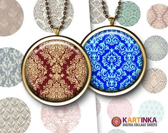COLORFUL DAMASK PATTERNS 1 inch & 1.5 inch images for resin pendants bezel settings magnets craft bottle caps Jewelry Making Glass Cabochon