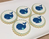 Whale baby shower cookies