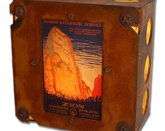 Zion National Park Night Light! WPA Travel Poster, Fine Industrial Chic