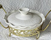Mid-Century Retro Miramar of California White Casserole Baking Dish, Gold-Tone Stand--Dated 1956