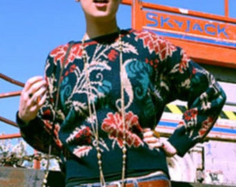 Vintage 90s Rose Pattern Sweater / Soft / Navy, Red, and Gold / Plant and Garden Imagery