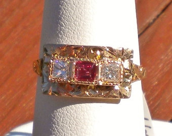 Gold ruby  diamond Victorian ring R230