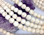 Lot of 5 strands 8mm White Howlite Turquoise Loose Spacer Beads Round 15.5 inch strand (BH4641)