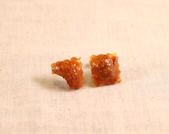 Meat Ravioli Post Earrings Polymer Clay Food Jewelry