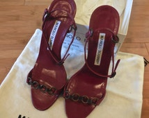 """Vintage 90s Manolo Blahnik Shoes in Red Leather with Copper Accents Sandle 3"""" Heel"""