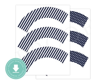 INSTANT DOWNLOAD Navy Cupcake Wrappers (Alligator Birthday, Navy Cupcake Wrapper, Printable Cupcake Wrappers, Navy Alligator)