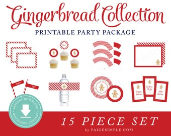 INSTANT DOWNLOAD Gingerbread Printable Party Package (Cookie Decorating, Gingerbread Party Instant Download, Cookie Party)
