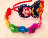 Russian nesting  doll / matrioshka headband and rainbow button duo