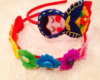 2 headbands: Russian nesting  doll / matrioshka headband and rainbow button duo