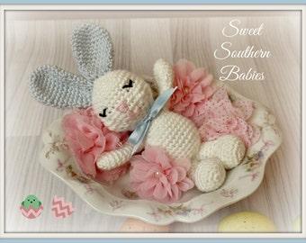 Crochet Easter Bunny - Pink, Blue, Brown/Tan