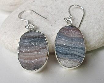 Oval Druzy Earring- Unique Statement Earring- Silver Druzy Earring- Desert Druzy Earring- Colorful Gemstone Earring- Drop Dangle Earring