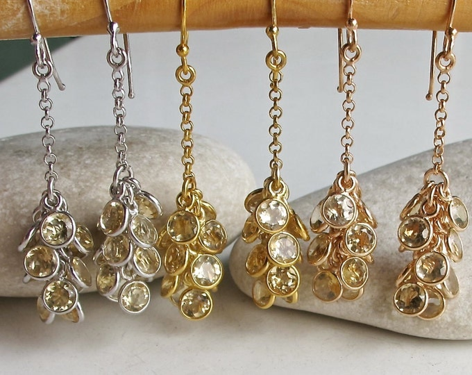 Rose Gold Earrings- Citrine Earrings- Stone Earrings- Dangle Earrings- Birthstone Earrings- Bridesmaids Earring- Gifts for Her