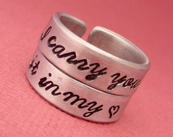 I carry your heart & I carry it in my heart - A Pair of Hand Stamped Aluminum Rings