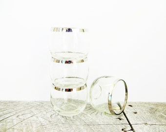 Silver Rimmed Drinking Glasses - 4 - Mad Men - Mid Century Modern