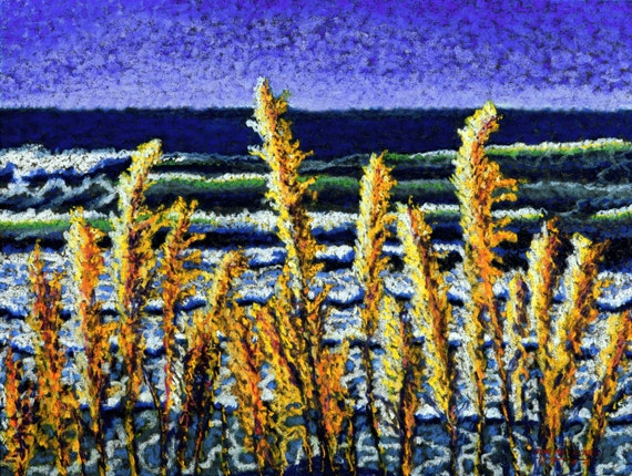 Seascape Fine Art Giclee Print, Sea Brush, Archival Print, Pastel Painting, Ocean View, Blue, Gold, Coastal Scene, Seascape, Sea Grass, 8x10