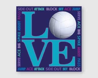 I LOVE Volleyball Wall Art