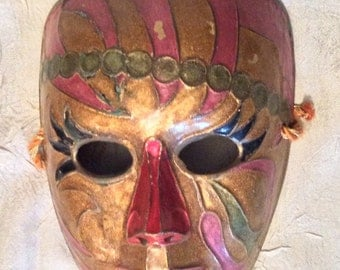 """Vintage 6 1/2"""" X 5 1/2"""" Solid Brass Hand Painted Mardi Gras Cast Mask Wall Hanging"""