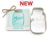Mason jar Cookie Cutter - Tin Cookie Cutters & recipe card Gift Set - baking supplies party favors - rustic shabby chic party favor cookies