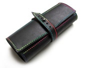 Personalized leather pencil case, Roll up pencil holder, Black pencil organizer