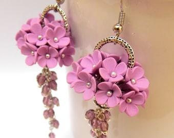 Flower Earrings, Wedding Earrings, Lavender Jewelry, Dangle Earrings, Bride Earrings, Handmade Earrings,Gift For Her,Flowers,Wedding Jewelry