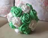 Satin Rose Bouquet, Ribbon Rose Bouquet,  White & Green Fabric Rose accented with rhinestone (Medium,  7 inch)