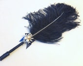 Jumbo Navy Feather Pen with Pearl Brooch / Navy Ostrich Feather Pen/ Ostrich Feather Pen / Guest Book Pen