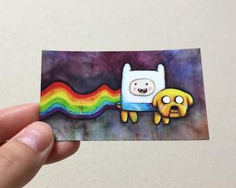 Nyan Time MAGNET, Adventure Time, Nyan Cat, Art, Geek