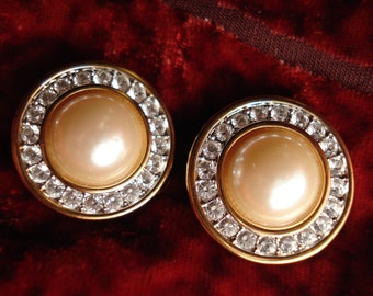 Vintage Swarovski Pearl and Crystal Gold Tone Clip Earrings