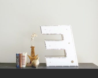 "Vintage 24"" Sign Letter E - Salvaged Industrial Plastic Uppercase Sans Serif"