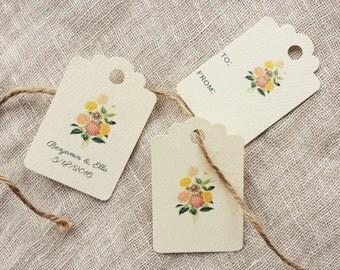 Favor Tag Gift Tag Dahlia Flower Wedding
