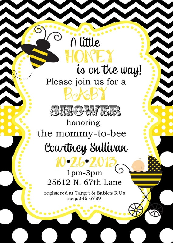 Bumble bee baby shower invitations digital or printable file for Spelling bee invitation template