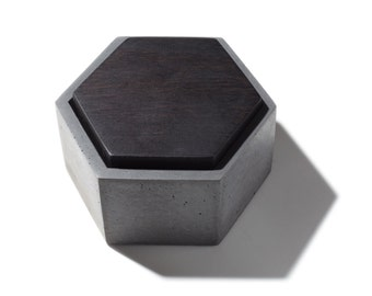 Hexagon Concrete Box with Blackened Walnut lid / Minimalist Home Decor/Jewelry Box, Modern Design, Container / Vessel