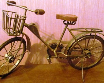 Vintage Hand Made Bicycle Art Piece with Working Chain and Wheels
