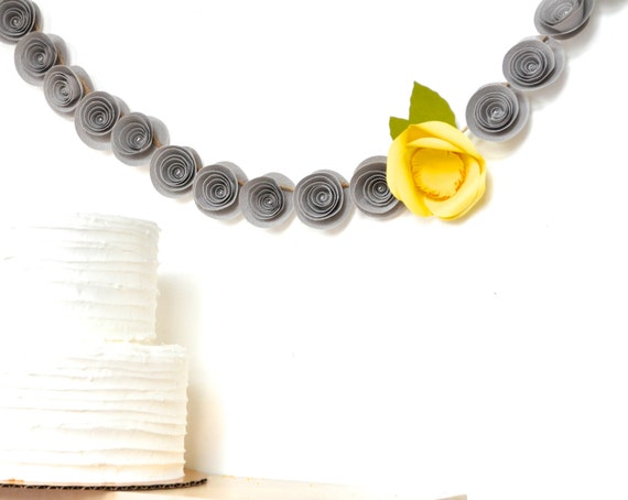Paper Flower Garland-  gray and yellow wedding garland - Party Garland, yellow and gray party